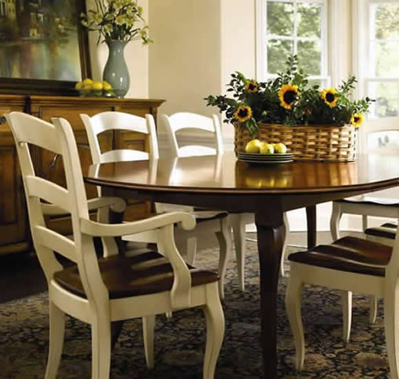 oval table with painted ladderback chairs nichols and stone