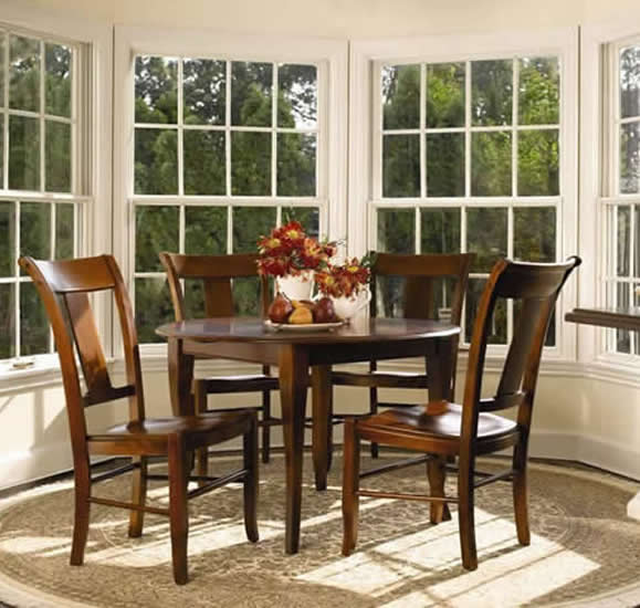 round table slat back chairs nichols and stone