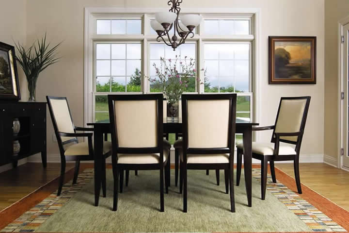 nichols stone back bay table upholstered chair