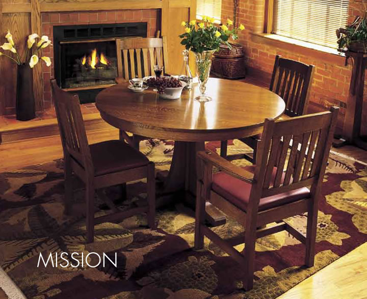 stickley mission round pedestal dining table