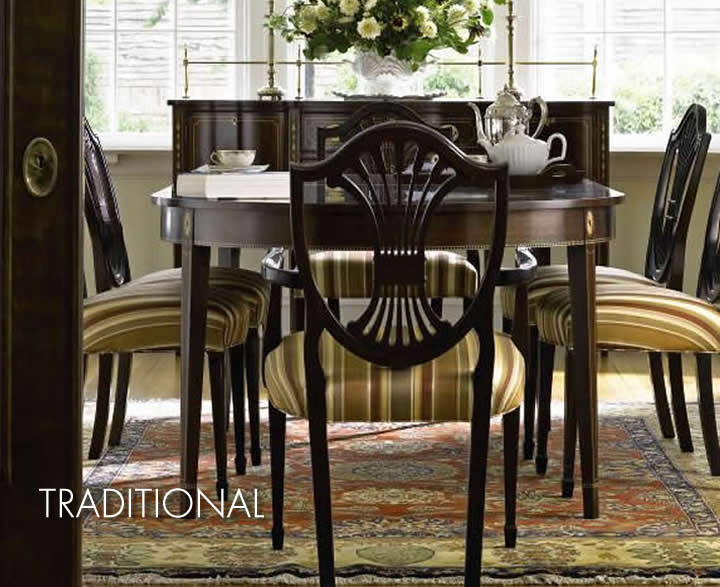 stickley traditional dining table hepplewhite chair