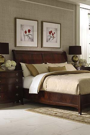 Stickley Furniture Traditional Cherry Bedroom Whitehall sleigh bed