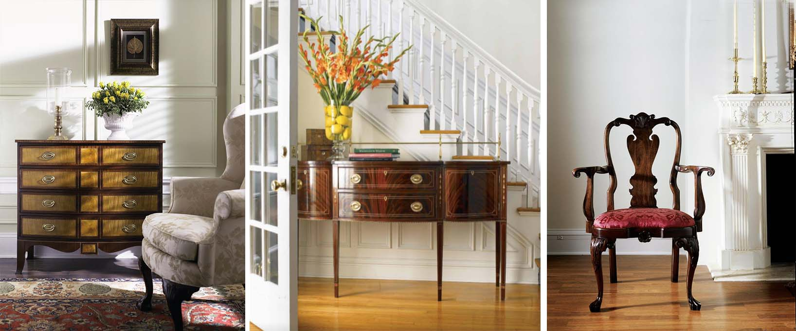 Traditional Home With Hepplewhite Sideboard And Queen Anne Chair