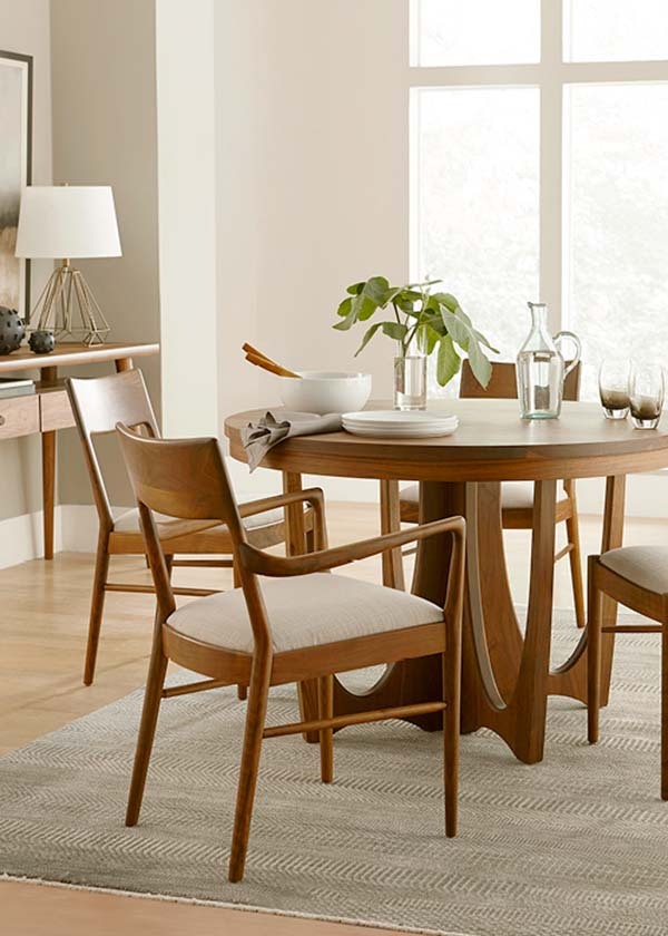 stickley walnut grove round dining table