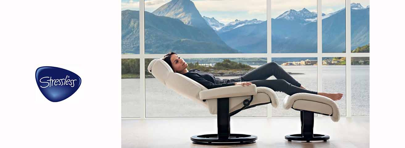 Stressless Magic recliner with a view of Ikornnes