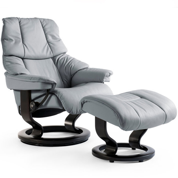 stressless reno recliner chair clasic base leather paloma metal gray